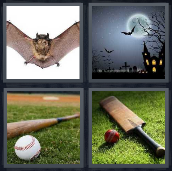 4 Pics 1 Word Answer 4 letters for wings spread on rodent, moon with haunted house, baseball with ball, cricket