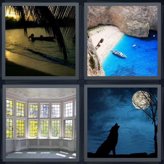 4 Pics 1 Word Answer 4 letters for bay at sunset with palm trees, inlet with boat and blue water, large windows, wolf howling at moon