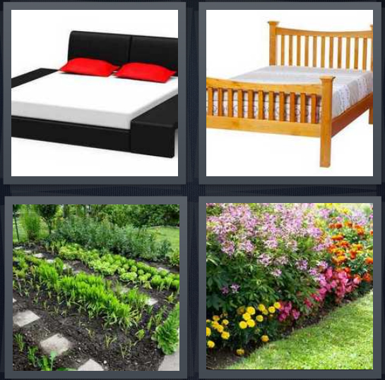 4 Pics 1 Word Answer 4 letters for sofa with red pillows, frame with mattress, garden with rows of plants, flowers in yard