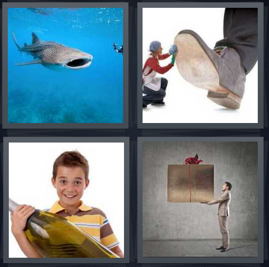 4 Pics 1 Word Answer 4 letters for shark in blue ocean, small person under large shoe, boy with large book, man with large box gift with ribbon