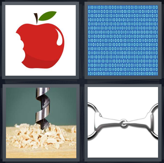 4 Pics 1 Word Answer 4 letters for apple with bite missing, code ones and zeros on blue background, drill going into wood, keychain on white background