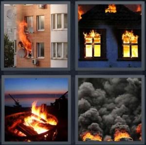 4 Pics 1 Word Answer For Fire Burn Flame Smoke Heavy Com