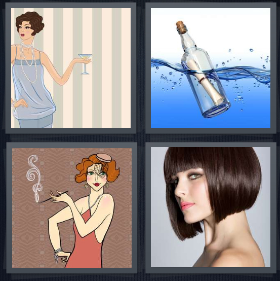 4 Pics 1 Word Answer 4 letters for 1920s flapper with cocktail, bottle floating in ocean, cartoon of woman smoking, woman with short haircut and bangs