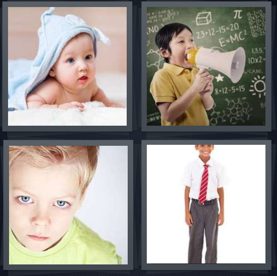 4 Pics 1 Word Answer 3 letters for baby under blue blanket, child with megaphone at chalkboard, toehead child with blue eyes, child wearing tie