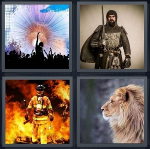 4 Pics 1 Word Answer For Concert Knight Firefighter Lion Heavy Com