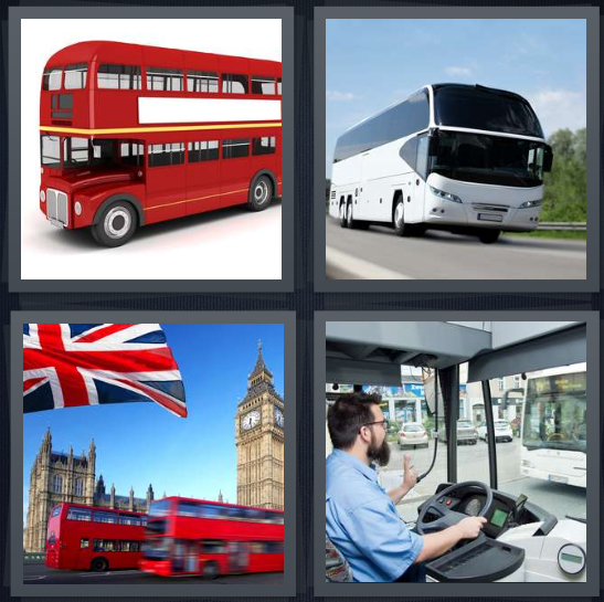 4 Pics 1 Word Answer 3 letters for double decker red vehicle, coach on highway, London, municipal driver of public transportation