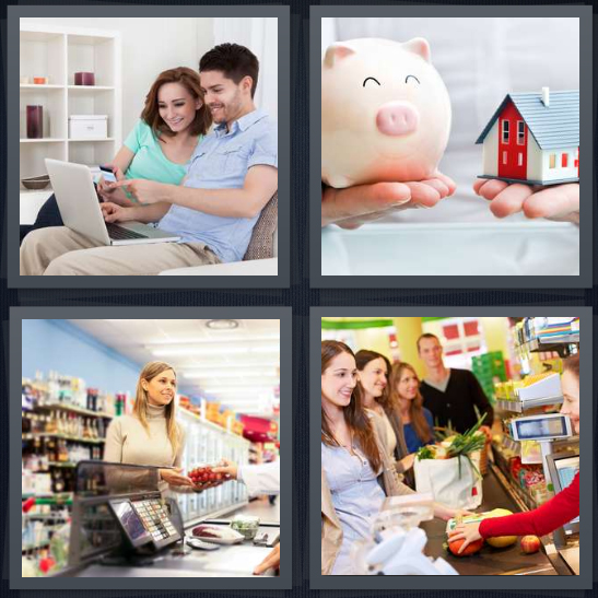 4 Pics 1 Word Answer 3 letters for couple looking at computer, piggy bank and house, woman shopping, groceries at checkout aisle