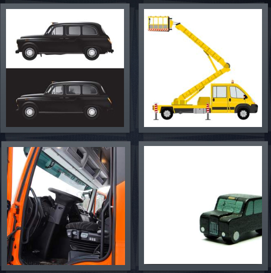4 Pics 1 Word Answer 3 letters for black taxis in England, cherry picker for construction, front part of orange truck, black car