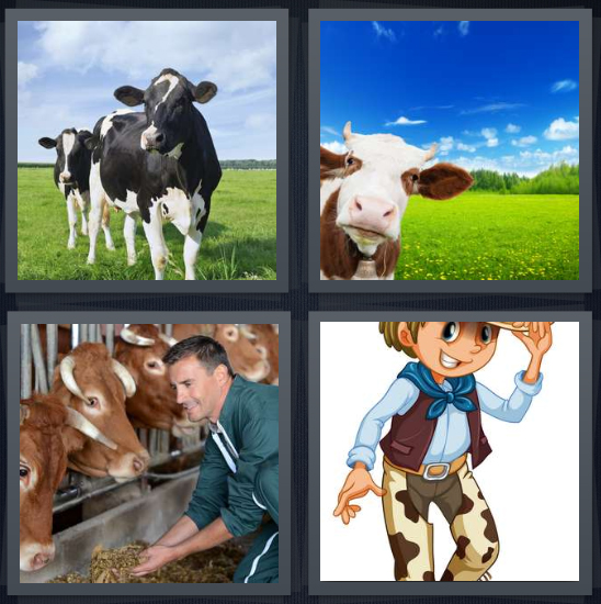 4 Pics 1 Word Answer 3 letters for dairy farm, farm with animals, cattle milking, cowboy