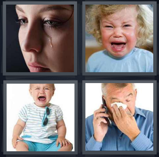 4 Pics 1 Word Answer 3 letters for tear rolling down cheek, child screaming, baby crying, man wiping tears on phone
