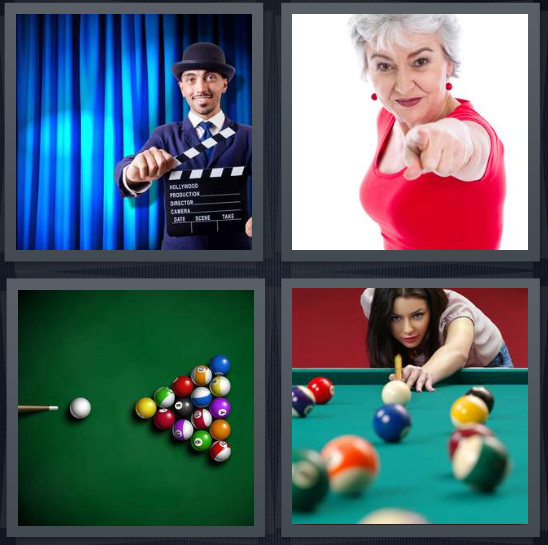 4 Pics 1 Word Answer 3 letters for film snap on blue curtain, woman in red shirt pointing, pool table, billiards player