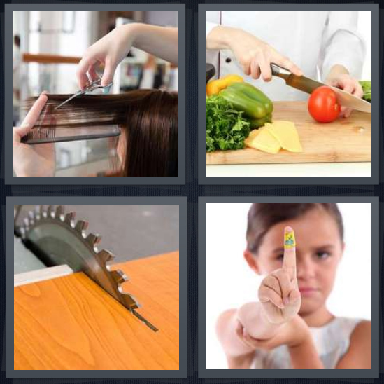 4 Pics 1 Word Answer 3 letters for woman getting hair cut, chef chopping vegetables, saw cutting wood, girl with hurt finger