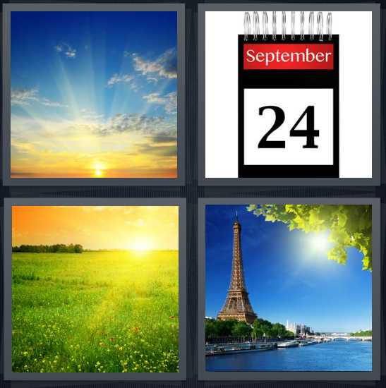 4 Pics 1 Word Answer 3 letters for sunset in big sky, calendar September, sunrise over field, Paris at noon