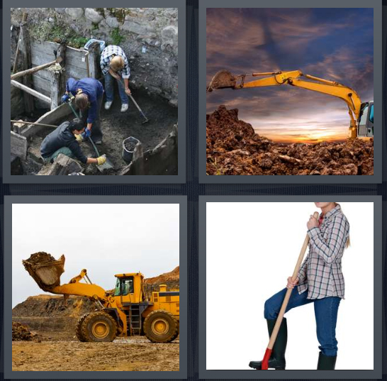 4 Pics 1 Word Answer 3 letters for men working in mine with shovels, bulldozer with sunset, construction site, girl with shovel