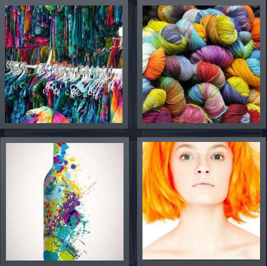 4 Pics 1 Word Answer 3 letters for colorful t shirts on rack, colored yarn, bottle with multi colors, woman with orange hair