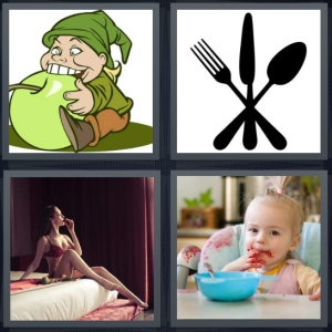 4 Pics 1 Word Answer 3 letters for cartoon elf chewing on green apple, silhouette of silverware on white background, woman on bed sensual, child with food all over face in highchair