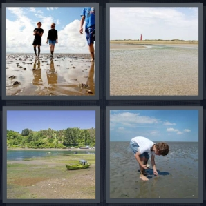 4 Pics 1 Word Answer 3 letters for couple walking on beach, shore at edge of water, lake with mold and boat, boy collecting shells