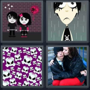 4 Pics 1 Word answers, 4 Pics 1 Word cheats, 4 Pics 1 Word 3 letters goth cartoon couple with brick wall, cartoon sad goth boy in rain, cartoon skeleton heads on purple background, couple dressed in black and red