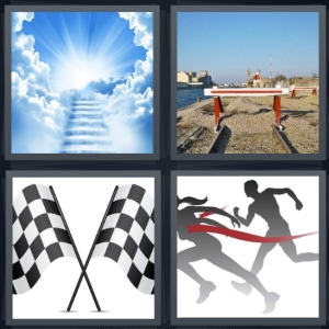 4 Pics 1 Word Answer 3 letters for clouds with stairs to heaven, final bit of train tracks with caution marker, checkered race flags, finish line in race