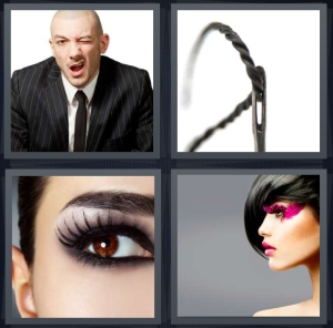 4 Pics 1 Word Answer 3 letters for man in suit winking, thread through needle, woman with heavy mascara, woman with pink costume makeup