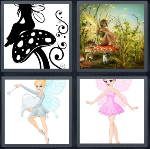 4 Pics 1 Word Answer 5 letters for black and white nymph on mushroom, fantasy world in forest, Tinkerbell with wand, pink wings on pixie