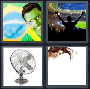 4 Pics 1 Word Answer 3 letters for Brazil football enthusiast, man with hands raised at stadium, machine for blowing air, wind in woman hair