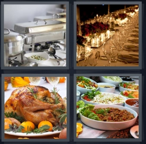 4 Pics 1 Word Answer 5 letters for buffet table with silver dishes, table set for many people, Thanksgiving turkey on platter, dishes on table set out for party