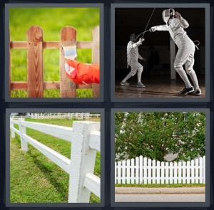 4 Pics 1 Word Answer 5 letters for person staining wood gate, people dueling with swords as sport, white picket, gate in front of yard