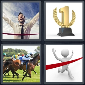 4 Pics 1 Word Answer 5 letters for man breaking ribbon in race, number one trophy, jockeys in horse race, drawing crossing finish line