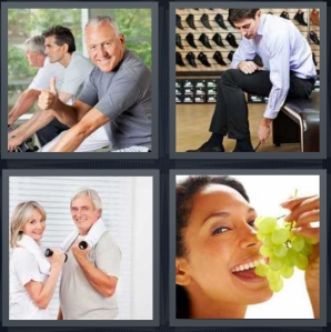 4 Pics 1 Word Answer 3 letters for men exercising on bike, man trying on shoes in store, elderly couple working out, woman eating bunch of green grapes