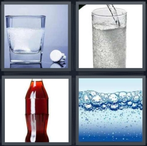4 Pics 1 Word Answer 5 letters for tablets that dissolve in water, soda being poured, bottle of dark cola, bubbles in liquid