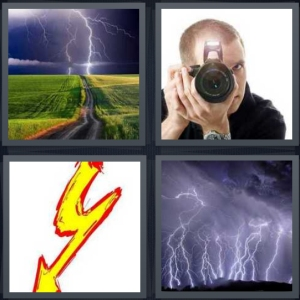 4 Pics 1 Word Answer 5 letters for storm in distance on highway, man using camera with light, drawing of yellow bolt, lightning in sky