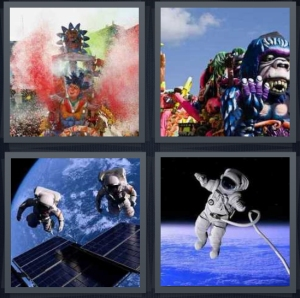 4 Pics 1 Word Answer 5 letters for large colorful parade, balloons for parade, astronauts suspended in air near moon, astronaut tethered to space station