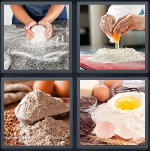 4 Pics 1 Word Answer 5 letters for kneading dough, baker breaking egg into powder, grain powder for cooking, mix