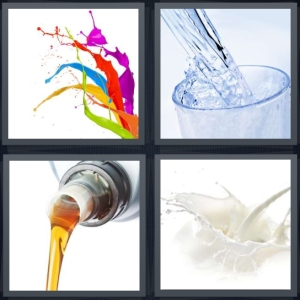 4 Pics 1 Word Answer 5 letters for paint splash on white background, water being poured, syrup pouring from container, milk splash