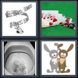 4 Pics 1 Word Answer 5 letters for money going down drain, poker cards hand all red, toilet bowl, cartoon of rabbits one blushing