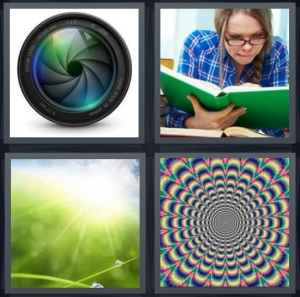 4 Pics 1 Word Answer 5 letters for camera lens opening, woman studying intently, close up on dew with sun, trance rainbow
