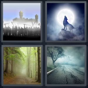 4 Pics 1 Word Answer 3 letters for knights about to storm and siege castle, wolf howling at full moon, forest with misty path, mist rising over concrete