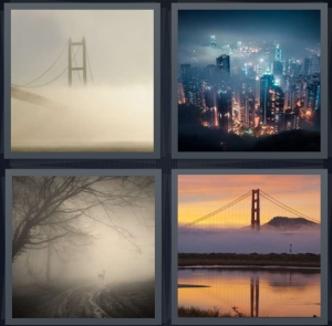 4 Pics 1 Word Answer 5 letters for Golden Gate bridge in fog, city skyline, mist in forest with trees, bridge with fog in bay