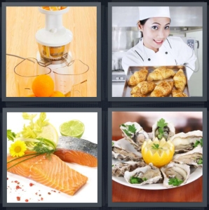 4 Pics 1 Word Answer 5 letters for juicer machine oranges, chef with tray of croissants, salmon with flowers, oysters with lemon on plate