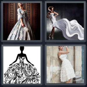 4 Pics 1 Word Answer 5 letters for woman in Baroque era dress, woman with flowing white dress, design drawing in black and white, woman in white fringe dress