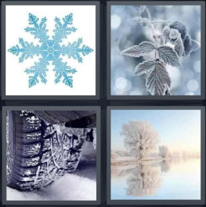 4 Pics 1 Word Answer 5 letters for blue snowflake on white background, ice on leaf, tire in snow, winter lake with white trees
