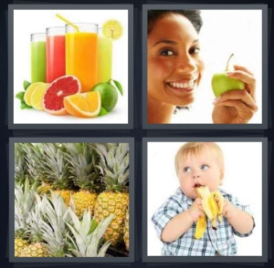 4 Pics 1 Word Answer 5 letters for different kinds of colorful juice in glasses, woman holding green apple, group of pineapples, baby with banana