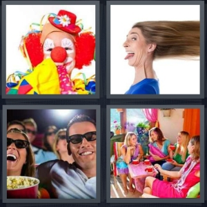 4 Pics 1 Word Answer 5 letters for classic clown with yellow scarf, silly woman with hair blown, comedy 3D movie, women having colorful party