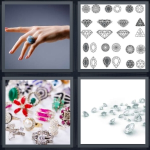 4 Pics 1 Word Answer 3 letters for woman with ring on finger, drawing of different cuts of jewels, shiny colorful jewelry, diamonds on white background