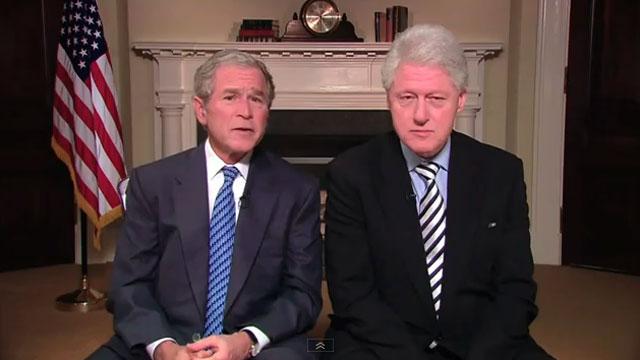 George W. Bush and Bill Clinton