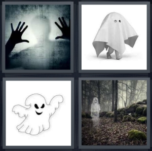 4 Pics 1 Word Answer 5 letters for spirit with hands on foggy glass, person with white sheet costume, evil Casper, soul wandering through woods