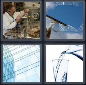 4 Pics 1 Word Answer 5 letters for chemist working with beakers, washing windshield, windows in skyscraper, water pouring into cup