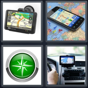 4 Pics 1 Word Answer 3 letters for tracking device for car directions, directions and map on mobile phone, satellite symbol, person driving in car