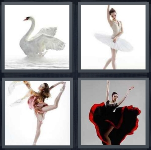 4 Pics 1 Word Answer 5 letters for white swan, ballerina in white tutu, modern dancer, flamenco dancer with black and red dress